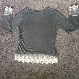 White lace and gray longsleeve shirt